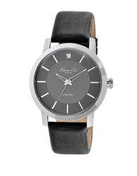 Kenneth Cole Mens Silvertone Diamond And Leather Watch Black