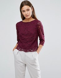 Oasis Lace Top Shell Top Berry Purple