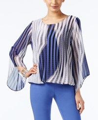 Alfani Printed Angel Sleeve Blouson Top Only At Macy's Stripe Blue