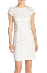 Women's Js Collections Short Sleeve Soutache Cocktail Dress Ivory