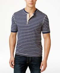 Club Room Men's Contrast Trim Striped Henley Only At Macy's Navy Blue