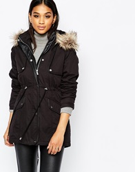 Michelle Keegan Loves Lipsy Parka Coat With Faux Fur Collar Black