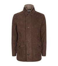 Peter Millar Steamboat Shearling Lined Leather Jacket Male Brown