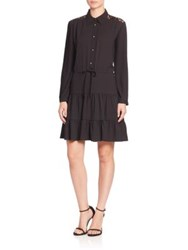 Sonia Rykiel Lace And Crepe Tiered Shirtdress Black