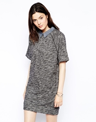 Levi's French Terry Dress With Collar Blackgalaxyhtrn