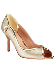Phase Eight Annie Leather Peep Toe Shoes Champagne