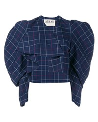 A.W.A.K.E. Oversized Shoulder Checked Shirt Blue White Red