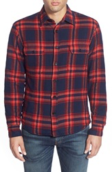 Gant Brushed Plaid Flannel Shirt Jacket Navy