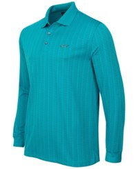 Greg Norman For Tasso Elba Men's Striped Long Sleeve Polo Only At Macy's Freshwater Teal