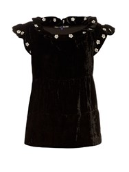 Jupe By Jackie Mickey Ruffle Trimmed Embroidered Silk Velvet Top Black