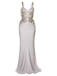 Alexander Mcqueen Crystal Embellished Crepe Gown Pearl