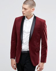 Farah Skinny Velvet Blazer With Shawl Lapel Burgundy Red