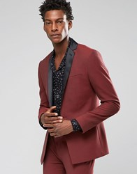 Asos Super Skinny Tuxedo Suit Jacket In Dark Red Mixed Red