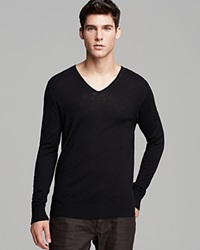 John Varvatos Collection Long Sleeve Merino V Neck Sweater