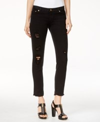 Michael Kors Ripped Cropped Skinny Jeans Black