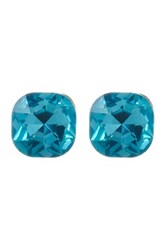 Stella Ruby Cushion Cut Blue Crystal Stud Earrings