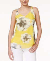 Amy Byer Bcx Juniors' Printed Strappy Tank Top Yellow Multi