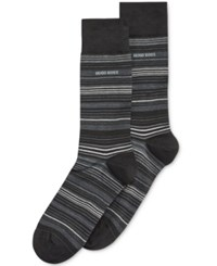 Hugo Boss Men's Multi Striped Dress Socks Black