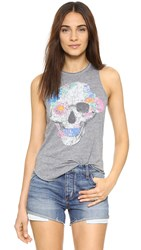 Chaser Water Floral Skull Tank Streaky Grey
