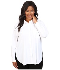 Lysse Plus Size Schiffer Stretch Button Down White Women's Clothing