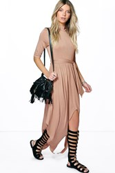 Boohoo High Neck Drape Maxi Dress Sand