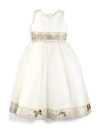 Joan Calabrese Sleeveless Metallic Trim Satin And Tulle Dress Ivory Taupe Ivory Brown