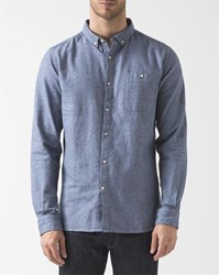 Knowledge Cotton Apparel Blue Twill Button Down Collared Pocket Shirt