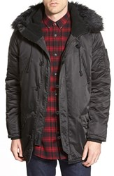 Men's Members Only Hooded Military Parka With Faux Fur Trim Black