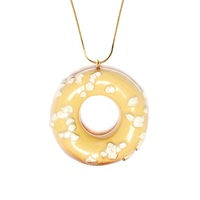 Tadam Doughnut White Sprinkles Necklace Gold Chain Gold Nude Neutrals