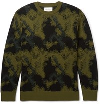 Public School Camouflage Jacquard Knit Merino Wool Sweater Green