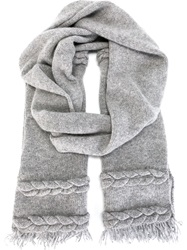 Agnona Braided Knit Detail Scarf Grey