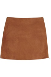 Jonathan Saunders Debbie Suede Mini Skirt Brown