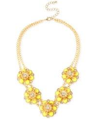 Inc International Concepts Inc Gold Tone Yellow Flower And Crystal Statement Necklace