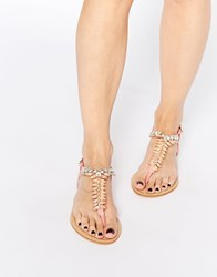 Forever Unique Maiden Embellished Toepost Flat Sandals Coral