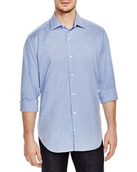 Tailorbyrd Grid Geo Print Classic Fit Button Down Shirt Blue Print Spread