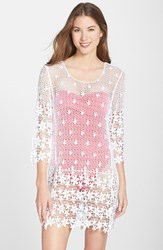 Women's J Valdi Crochet Cover Up Tunic White