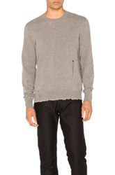 Lanvin Open Stitch Crewneck Sweater In Gray