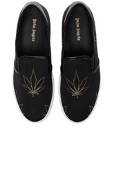Palm Angels Canvas Slip On Tuxedo Sneakers In Metallics Floral Black