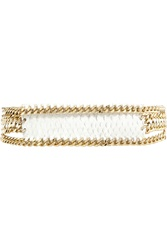 Balmain Chain Trimmed Croc Effect Leather Waist Belt