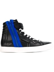 Pierre Hardy Contrasting Zip Hi Top Sneakers Blue