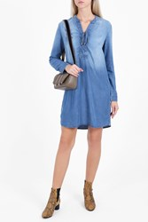 Splendid Lace Up Denim Dress Blue