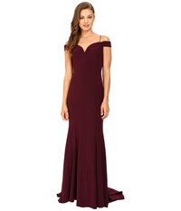 Adrianna Papell Off Shoulder Mermaid Gown Cassis Women's Dress Purple