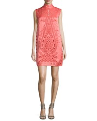 Nanette Lepore Sleeveless Mock Neck Eyelet Shift Dress Size 8 Coral