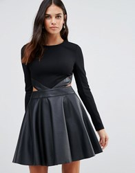 Forever Unique Adela Skater Dress With Cut Outs And Leather Look Skirt Black