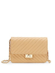Saks Fifth Avenue Sindy Quilted Leather Shoulder Bag Camel