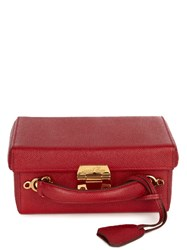 Mark Cross Grace Small Grained Leather Box Bag Red