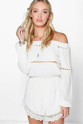 Boohoo Off The Shoulder Chiffon Playsuit White