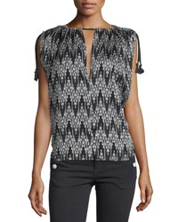 Isabel Marant Sleeveless Ikat Print Tassel Top Black