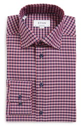 Eton Men's Big And Tall Contemporary Fit Check Dress Shirt Red