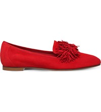 Aquazzura Wild Fringed Suede Loafers Red